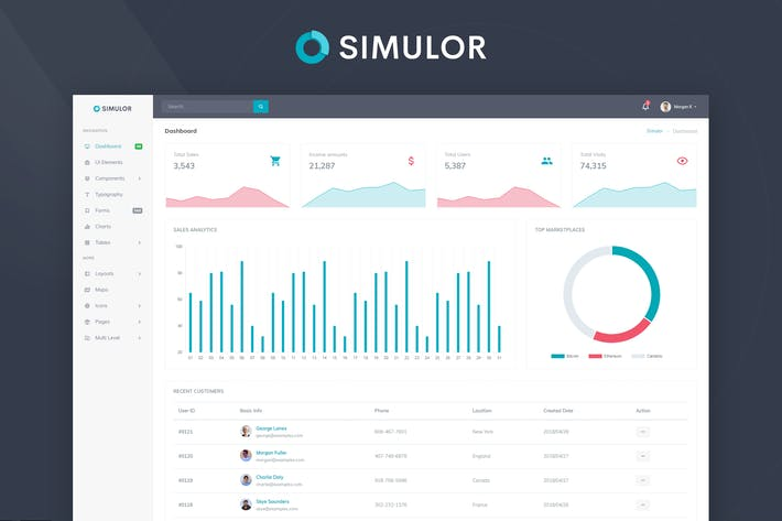 Thumbnail for Simulor - Minimal Admin & Dashboard Template