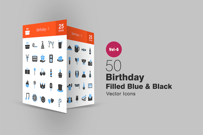 Thumbnail for 50 Birthday Blue & Black Icons
