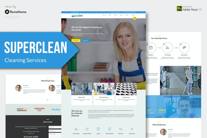 Thumbnail for Super Clean - Cleaning Services Muse Templates