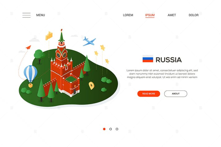 Thumbnail for Travel to Russia - isometric banner illustration