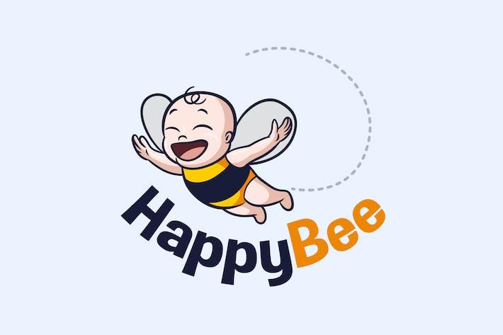 Baby Bee - Happy Flying Baby Bee Mascot Logo