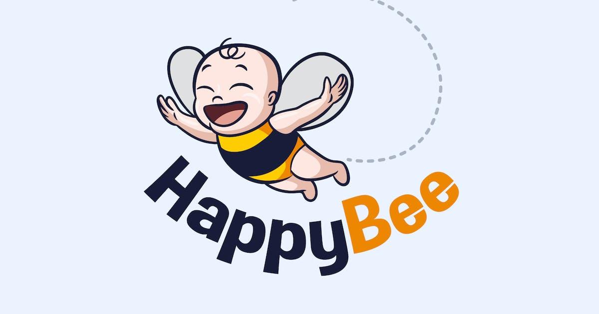 Download Baby Bee - Happy Flying Baby Bee Mascot Logo by Suhandi