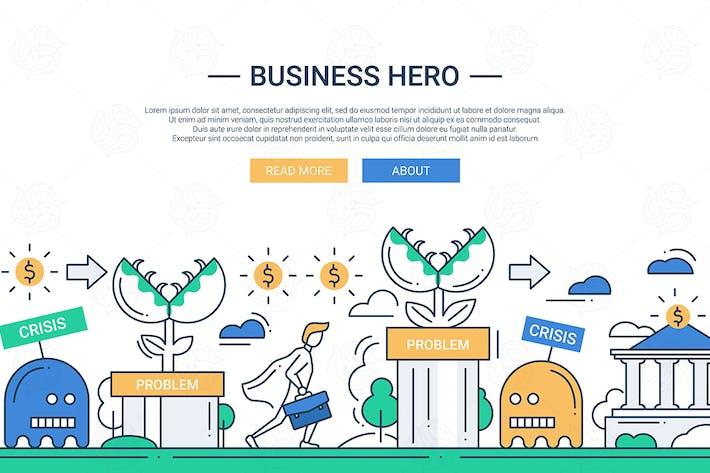 Thumbnail for Business hero line flat design banner