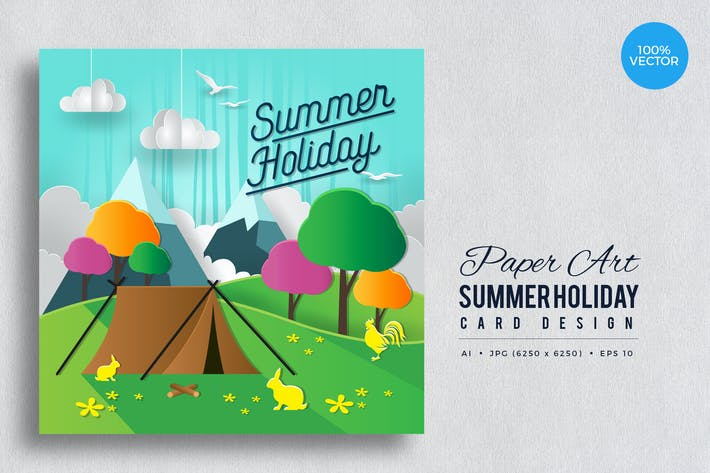 Thumbnail for Paper Art Summer Holiday Vector Card Vol.2