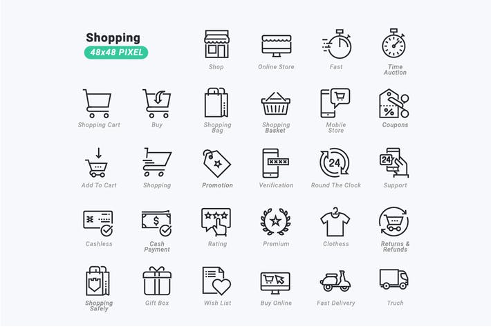 Thin Line Icons Set of 	Shopping