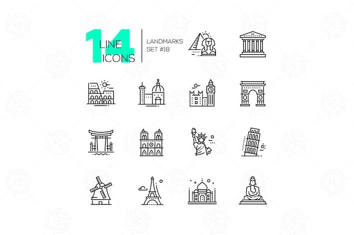 Thumbnail for Landmarks - modern single line icons set
