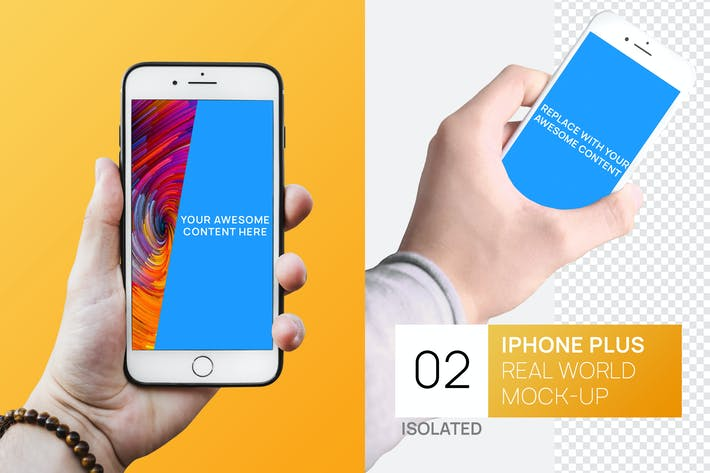Thumbnail for Isolated iPhone Plus in hand Real World Mock-up