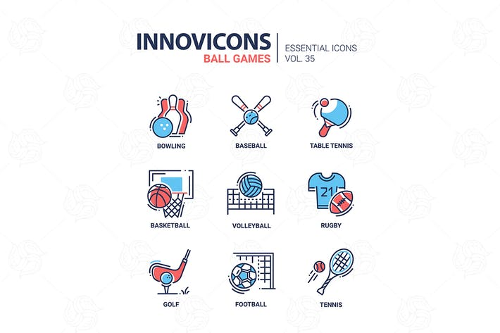 Thumbnail for Ball Games -  vector line design style icons set