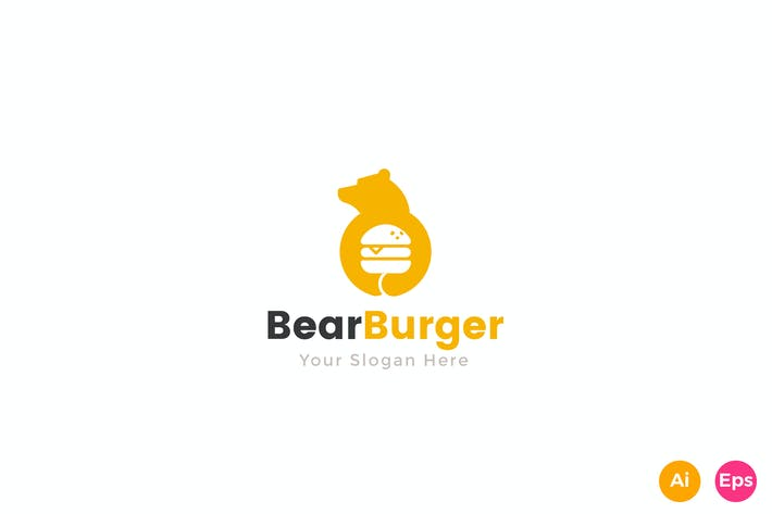 Thumbnail for Bear Burger Food Logo Template