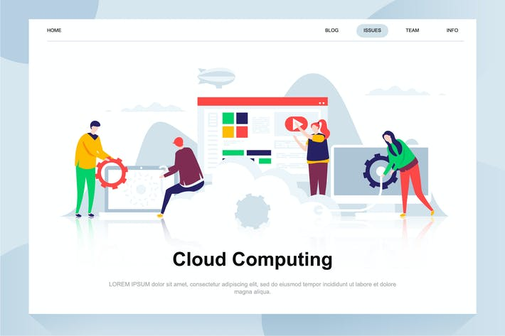 Thumbnail for Cloud Computing Flat Concept