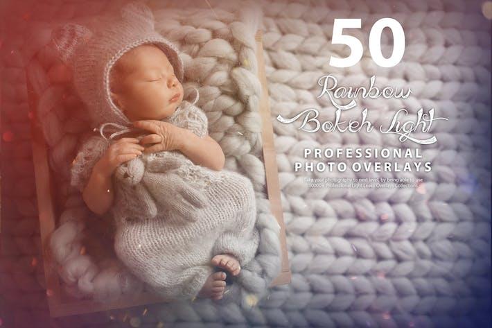 50 Радуга Боке Свет Утечка Фото Наложения