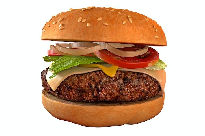 Thumbnail for Burger isoliert - Hamburger 3D