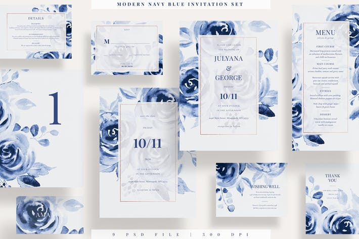Thumbnail for Modern Navy Blue Invitation Set EZ