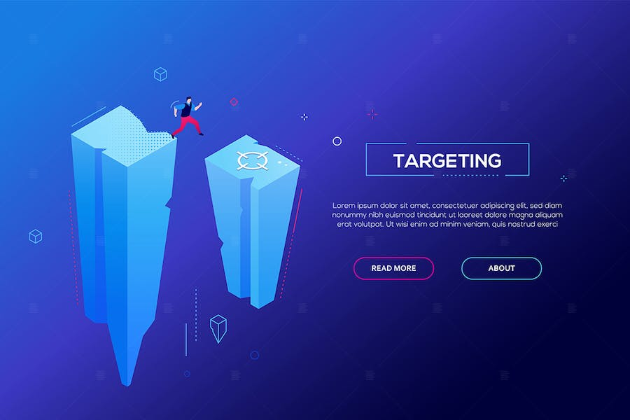 Targeting - modern colorful isometric web banner