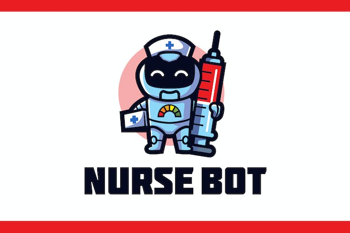 Thumbnail for Cartoon Nurse Robot Mascot Logo