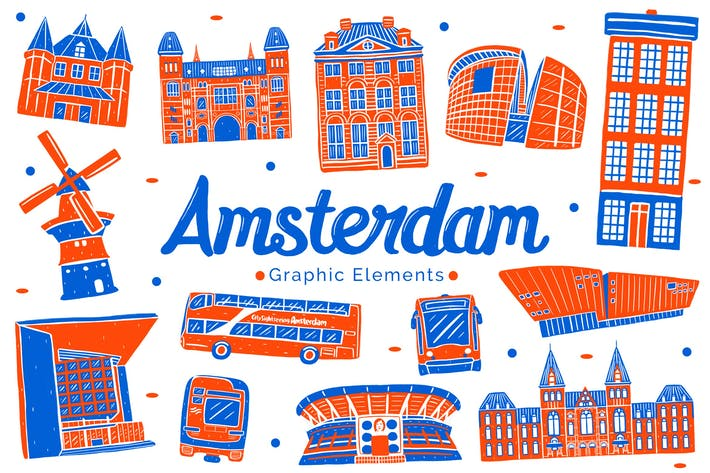 Thumbnail for Amsterdam Landmark Graphic Elements