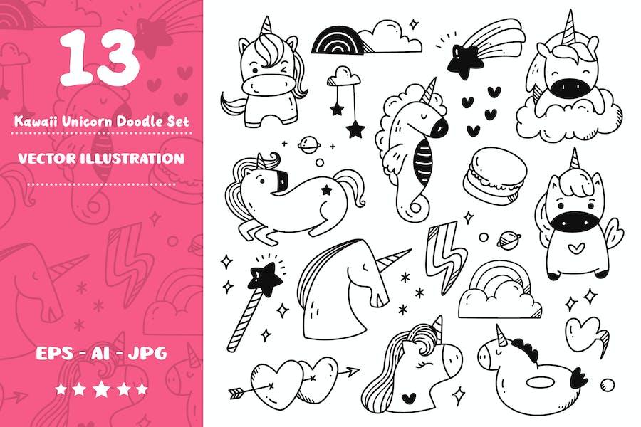 Kawaii Unicorn Doodle Set