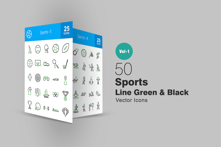 50 Sports Line Green & Black Icons