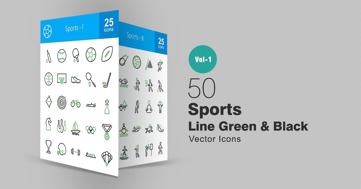 Download 50 Sports Line Green & Black Icons by IconBunny