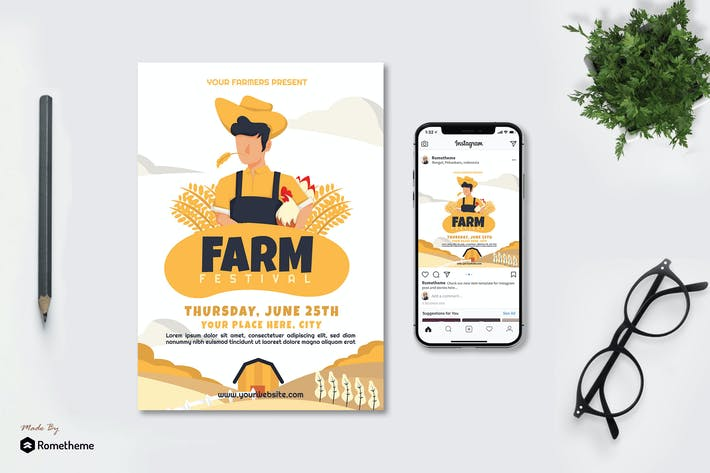 Farm Festival - Creative Flyer & Instagram Post GR
