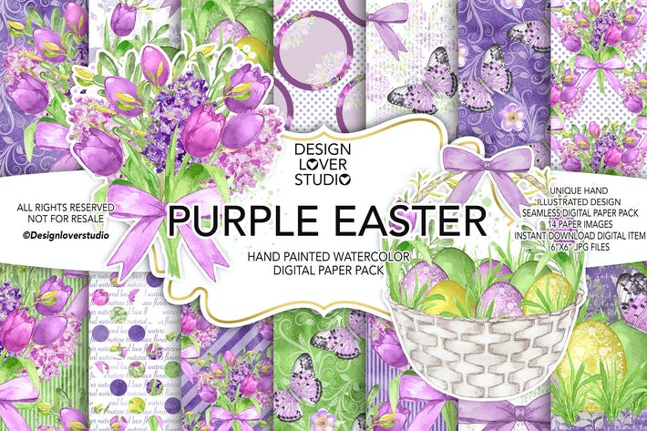 Thumbnail for Watercolor PURPLE EASTER digital paper pack