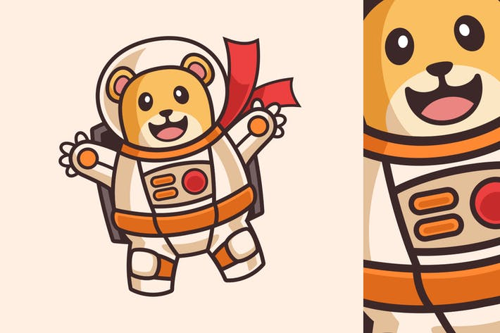 Niedlicher Bär schwebt im Astronauten-Kostüm-Cartoon C