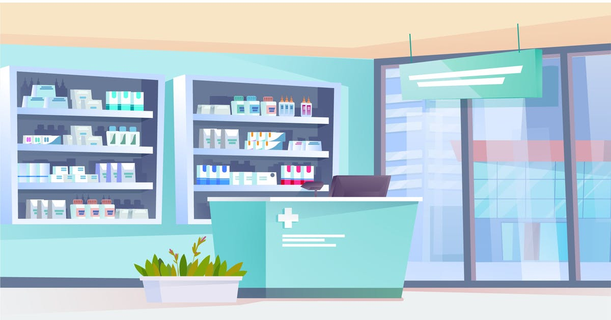Download Pharmacy Interior - Illustration Background by DesignSells