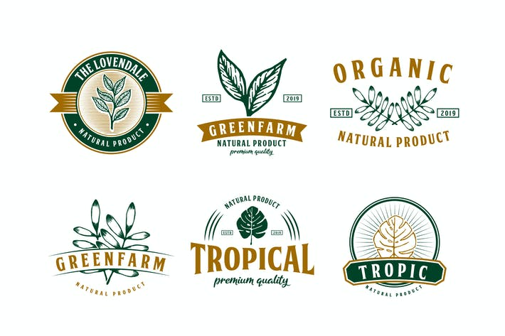 Thumbnail for Set of Nature and Tropical Logo Badge