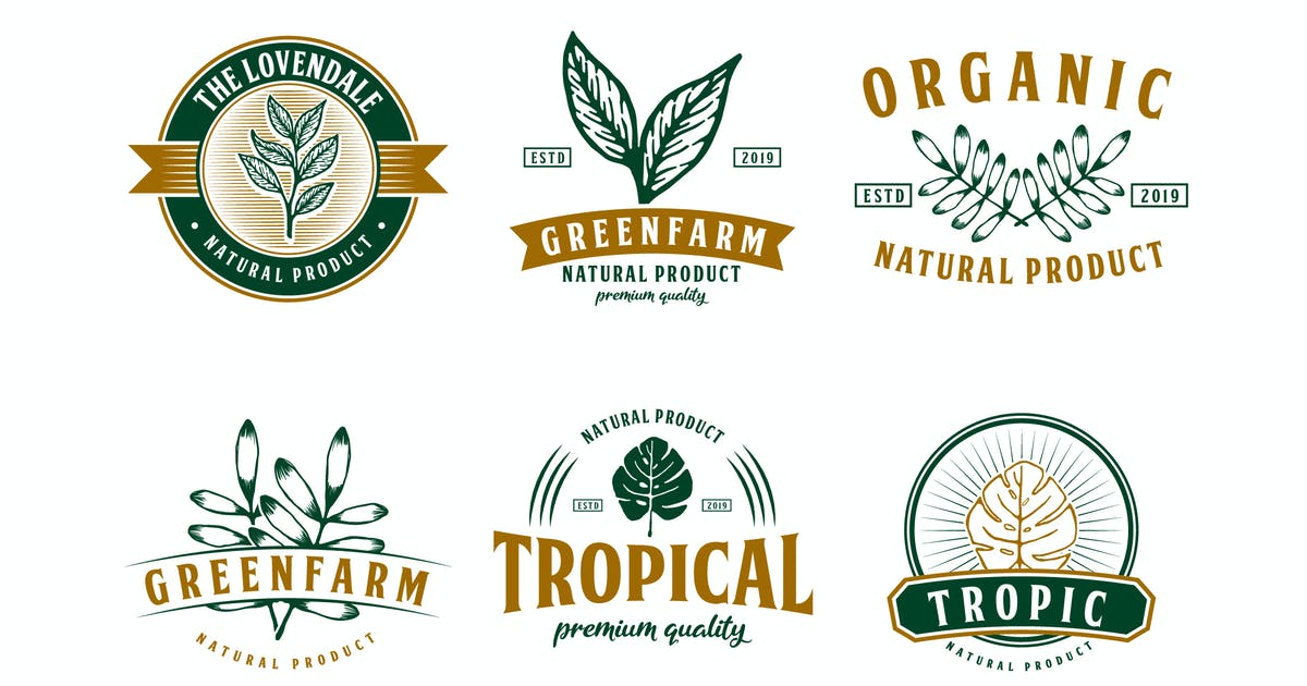 Download Set of Nature and Tropical Logo Badge by Suhandi