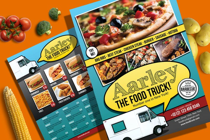 Cover Image For Food Truck Menu Flyer