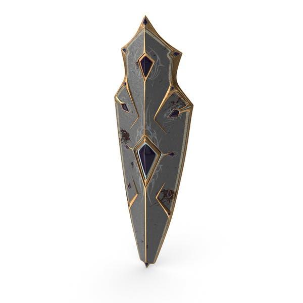 Боевой изношенные фэнтезийный щит рыцаря