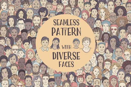 Diverse Faces Seamless Pattern