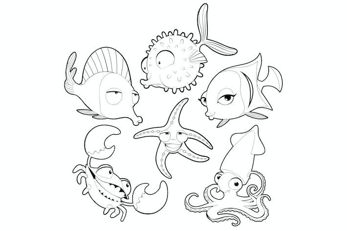Thumbnail for Animales marinos en blanco y negro