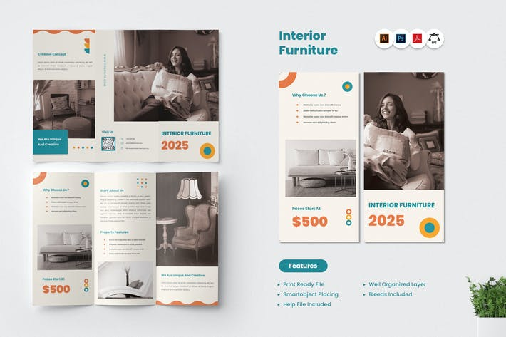 Thumbnail for Interior Furniture Trifold Brochure