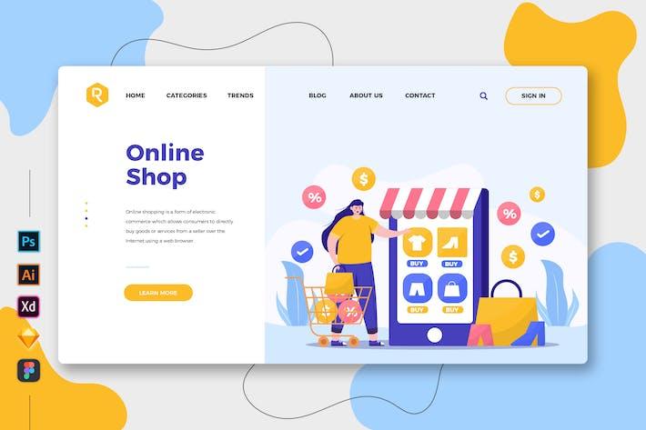 Thumbnail for Online Shop - Web & Mobile Landing Page