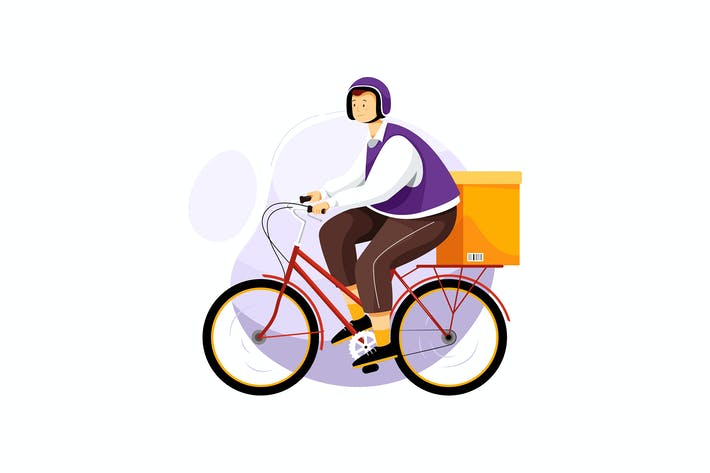 Thumbnail for Bicycle Delivery Service Vector illustration