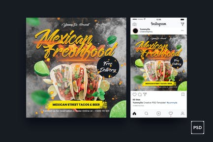 Mexican Food Square Flyer & Instagram Post