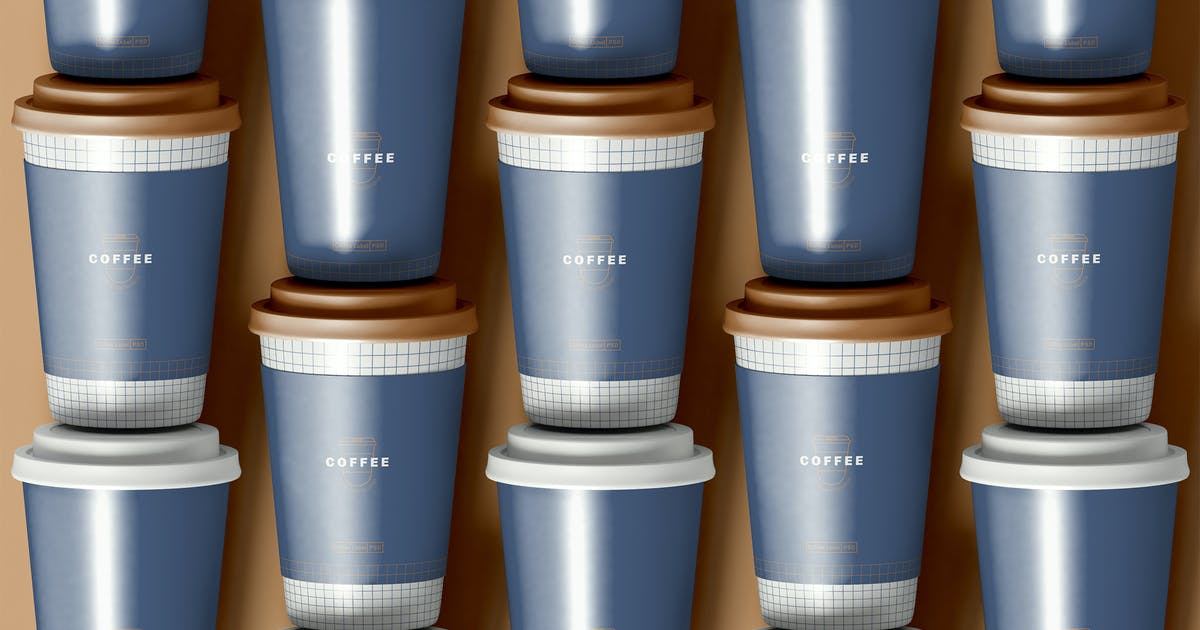 Download Arranged Coffee Cups Mockup by megostudio