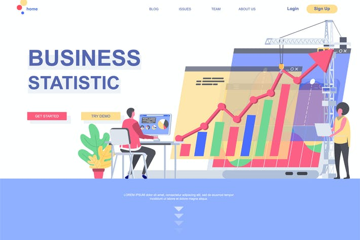 Thumbnail for Business Statistics Landing Page Template