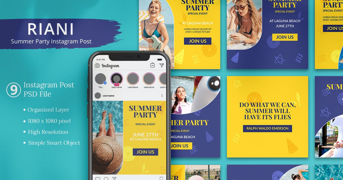 Download Riani - Summer Party Instagram Post by Attype-Studio