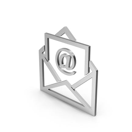 Symbol Email Envelope Silver