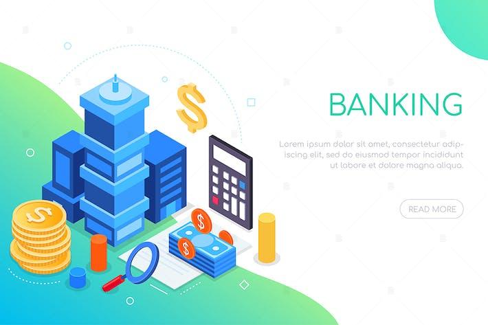 Thumbnail for Finanzas y banca - Banner web isométrico