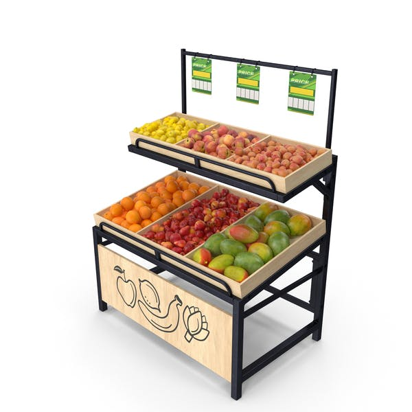 Wooden Display Rack with Fruits