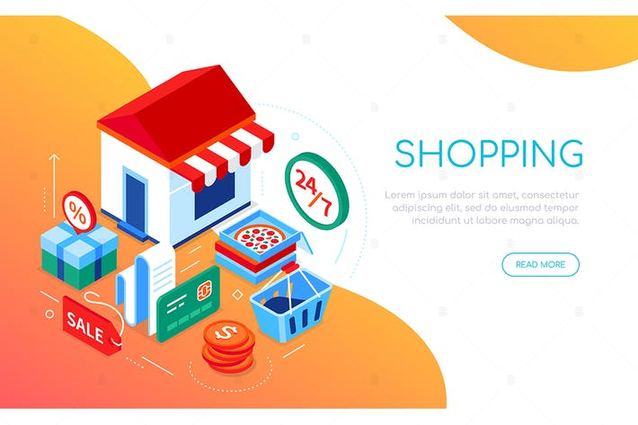 Shopping and delivery - colorful isometric banner