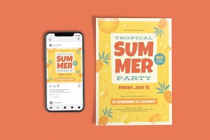 Tropische Sommerfest-Vorlage Set