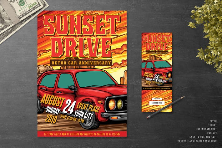 Thumbnail for Sunset Drive Classic Car Event Flyer