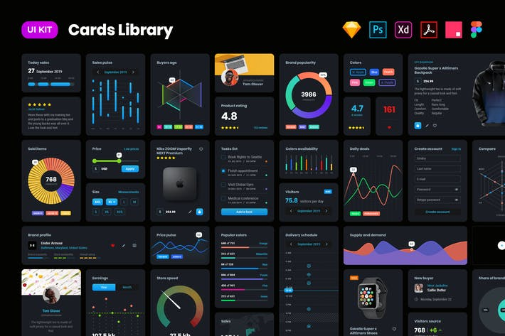 Thumbnail for Dark cards – User Interface kit
