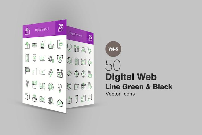 Thumbnail for 50 digitale Web-SIcons in Grün und Schwarz
