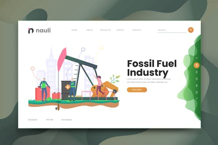 Fossil Fuel Oil Industry Web PSD and AI Template