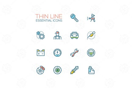 Essential icons - modern vector single thick line